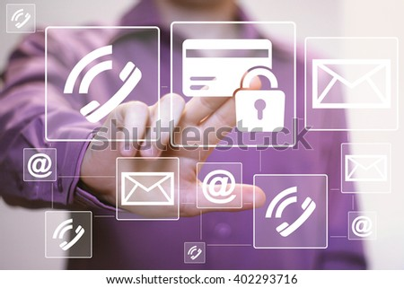 Business button credit card icon web sign mail lock security - stock photo