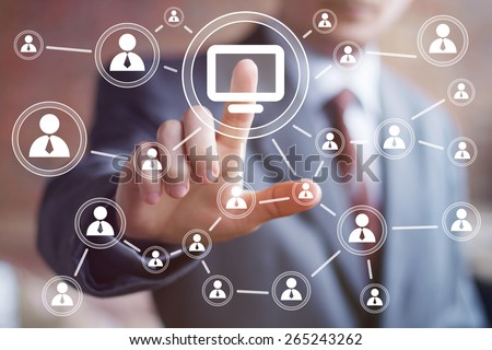 Business button virtual media connection communication computer - stock photo