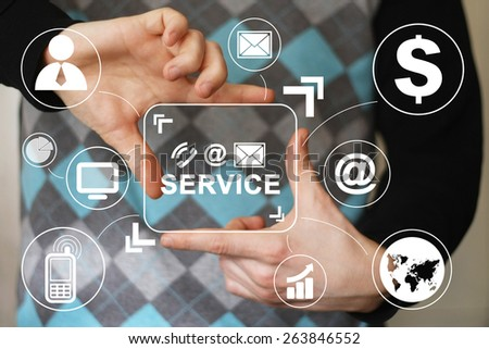 Business button web 24 hours service icon virtual - stock photo