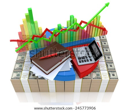 Business calculation - analysis of financial market  - stock photo