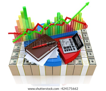 Business calculation - analysis of financial market in the design of information related to business and economy. 3d illustration - stock photo
