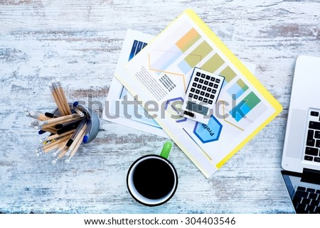 Business calculations and analytics in the office.  - stock photo