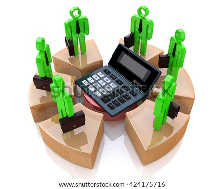 Business calculations in the design of the information related to the economy. 3d illustration - stock photo