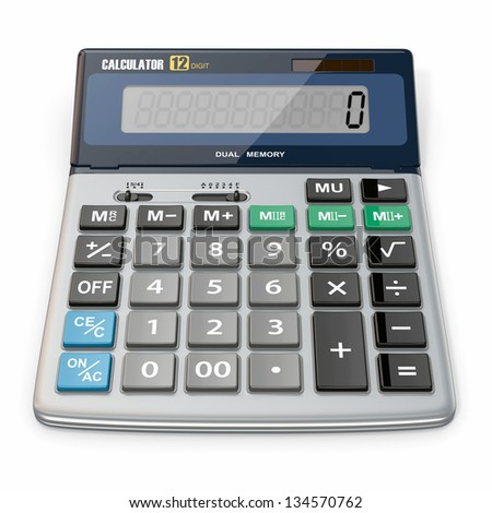 Business Calculator on white isolated background. 3d - stock photo