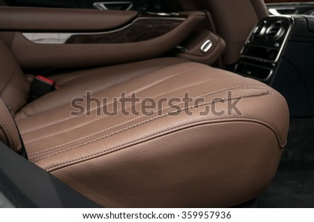 Business car back passenger seats. Interior detail. - stock photo