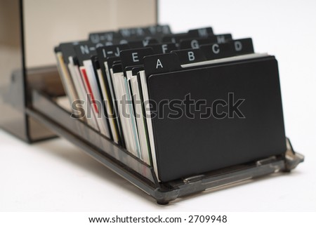 Business card holder focus on A close up