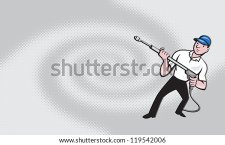 Business card ideal for power washing contractor showing illustration of a worker with water blaster pressure power washing sprayer spraying set inside circle done in cartoon style. - stock photo