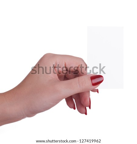 Business card in a female hand isolated on white background - stock photo