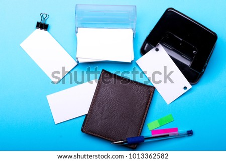 Business card card holder binders business stock photo 1013362582 business card in card holder and binders business idea concept stationery leather wallet colourmoves