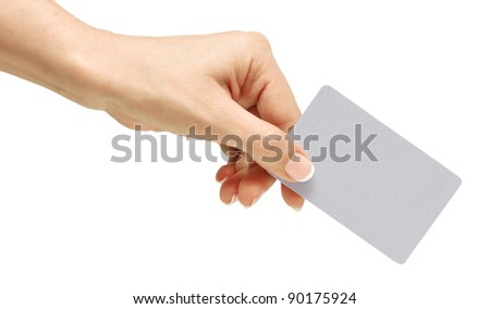Business card in female hand. Studio isolated. With clipping path - stock photo
