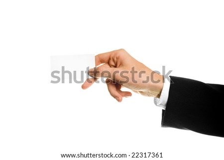 Business card or white sign in hand. Isolated. - stock photo