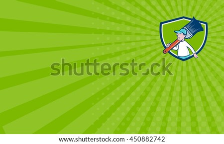 Business card showing illustration of a house painter walking carrying giant paintbrush on shoulder viewed from the side set inside shield crest on isolated background done in cartoon style.  - stock photo
