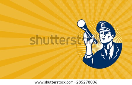 Business card showing illustration of a police officer policeman security guard holding a flashlight torch set inside circle done in retro style. - stock photo