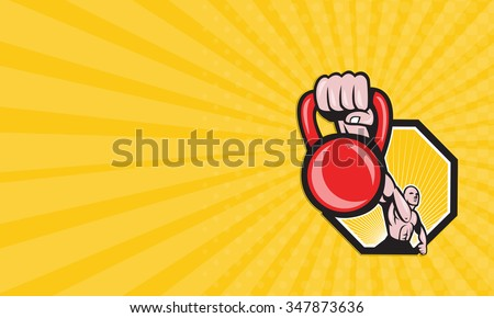 Business card showing illustration of a strongman crossfit training lifting kettlebell or girya viewed from front on isolated background. - stock photo