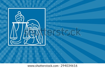 Business card showing illustration of a woman lady with blindfold holding weighing scales of justice set inside square done in retro style. - stock photo