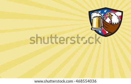 Business card showing illustration of an american bald eagle hoisting mug glass of beer stein viewed from the side with usa american stars and stripes flag  done in retro style.