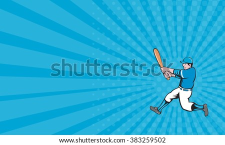 Business card showing illustration of an american baseball player batter holding bat batting swinging bat viewed from the side set on isolated white background done in cartoon style.  - stock photo