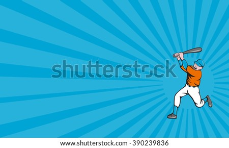 Business card showing illustration of an american baseball player holding bat batting homer home run set  on isolated white background done in cartoon style.  - stock photo