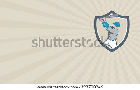 Business card showing illustration of an american baseball player holding bat batting homer home run set inside shield crest on isolated background done in cartoon style.  - stock photo