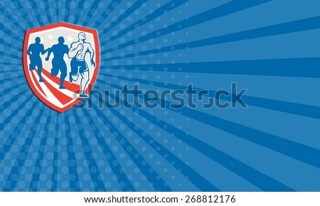 Business card showing illustration of an American crossfit marathon runners running facing front set inside shield with stars and stripes flag done in retro style on isolated white background - stock photo