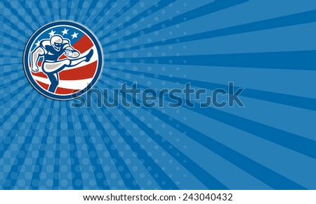 Business card showing illustration of an american football gridiron player placekicker kicking set inside circle with stars and stripes in the background done in retro style.  - stock photo