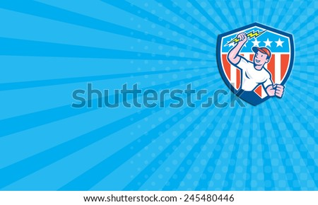 Business card showing illustration of an electrician construction worker standing holding a lightning bolt looking to the side set inside circle with stars and stripes done in cartoon style. - stock photo