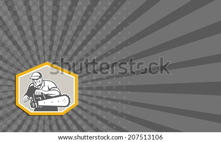 Business card showing illustration of lumberjack arborist tree surgeon holding a chainsaw set inside crest shield shape facing front on isolated white background done in retro style. - stock photo