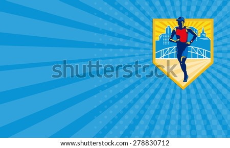 Business card showing illustration of marathon triathlete runner running with urban buildings and bridge in background set inside shield done in retro style. - stock photo