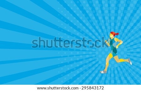 Business card showing low polygon style illustration of female marathon triathlete runner running viewed from the side set on isolated white background. - stock photo