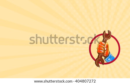 Business card showing Watercolor style illustration of a mechanic hand holding spanner wrench punching bursting out of circle shape viewed from front on isolated background.  - stock photo