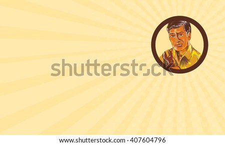 Business card showing Watercolor style illustration of a mechanic holding spanner wrench viewed from front set inside circle on isolated background.  - stock photo