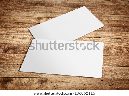 Business card template on wooden board table,template for branding identity - stock photo