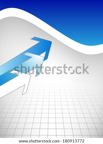 Business card with blue arrow on white background - stock photo