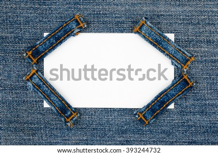 Business card with four straps jeans, lies on the light denim, with space for your text