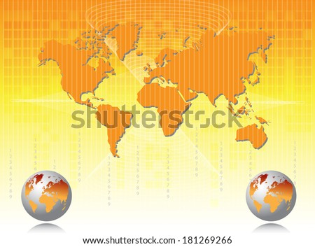 Business card with map of world