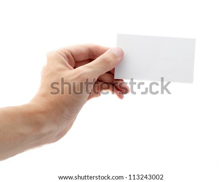 business card with one hand clutching isolated on white background