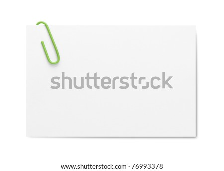 Business card with paper clip - stock photo