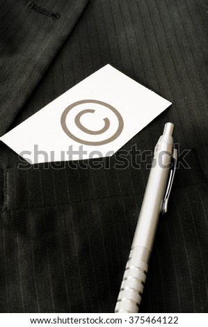 Business card with the sign COPYRIGHT  - stock photo