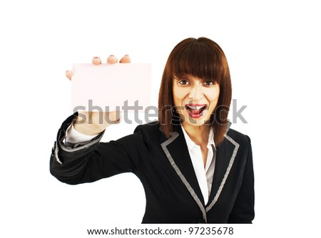 Business card woman. Businesswoman showing blank business card sign excited. Isolated on white background - stock photo