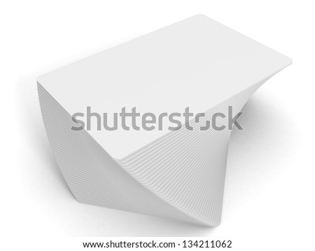 business cards twisted stack on white