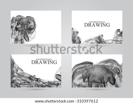 Business cards with abstract cloud of ink drawn by hand with colored pencils. Watercolor in water. Holi. Liquid ink. Pencil drawing. Black and white - stock photo