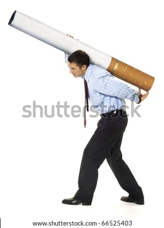 Business carrying the weight of a cigarette on white background. - stock photo