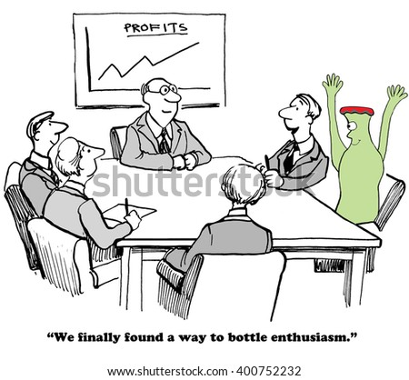 Business cartoon about enthusiasm and success. - stock photo