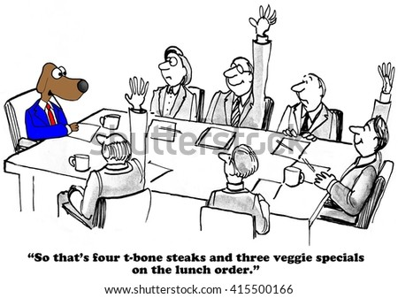 Business cartoon about lunch options at the team meeting.