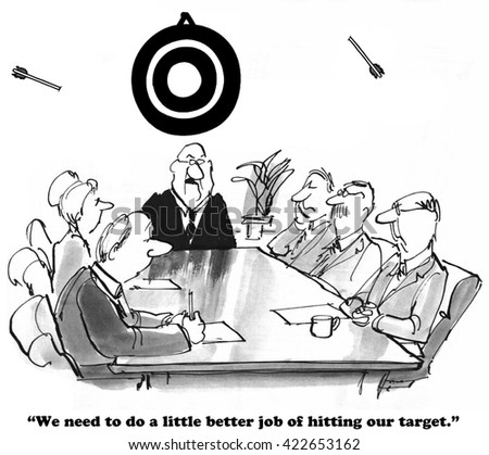 Business cartoon about missing the target. - stock photo