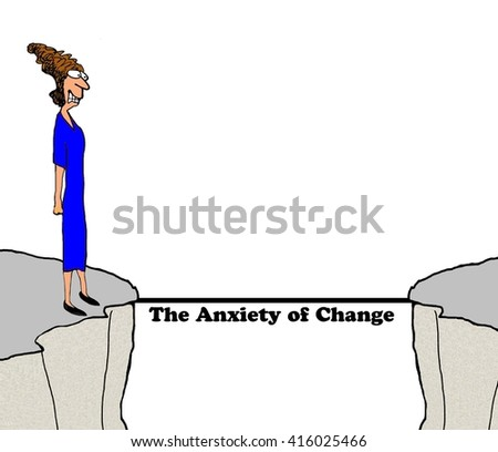 Business cartoon about the anxiety caused by change. - stock photo