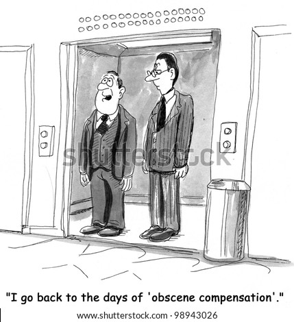 Business Cartoon on obscene worker compensation - stock photo