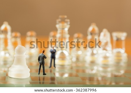 Business challenge with competitor obstacles by use strategy with chess concept.
