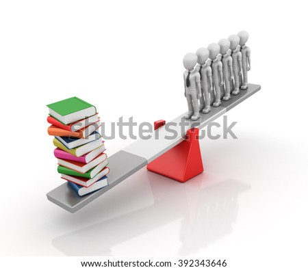 Business Characters and Books Balancing on a Seesaw - Balance Concept - High Quality 3D Render   - stock photo