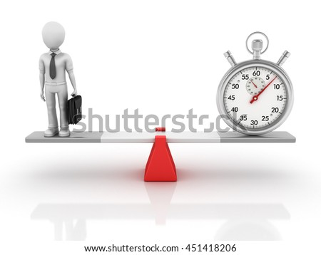 Business Characters and Stopwatch Balancing on a Seesaw - Balance Concept - High Quality 3D Rendering